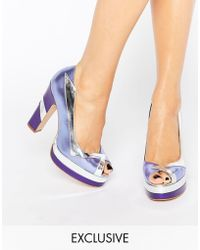 Terry De Havilland - Luna Lilac Peep Toe Heeled Shoes - Lyst