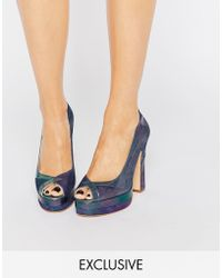 Terry De Havilland - Luna Petrol Peep Toe Heeled Shoes - Lyst