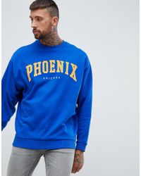 ASOS - Oversized Sweatshirt With City Print In Blue - Lyst
