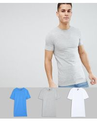 ASOS - Longline Muscle Fit T-shirt With Crew Neck And Stretch 3 Pack Save - Lyst