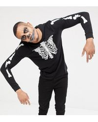 ASOS - Tall Halloween Long Sleeve T-shirt With Skeleton Rib Cage Back And Body Print - Lyst