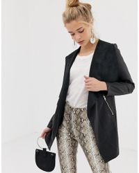 New Look - Faux Leather Waterfall Jacket - Lyst