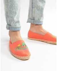 ASOS - Design Espadrilles In Orange With Embroidery - Lyst