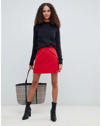 843bdbee8292 ASOS Mini Skirt In Leather Look With Red Snake in Red - Lyst