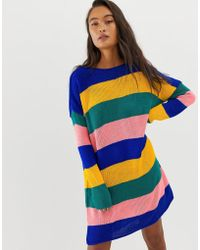 Daisy Street - Relaxed Jumper Dress In Bold Stripe - Lyst
