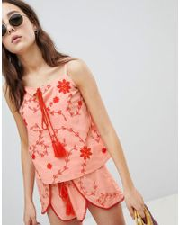 Glamorous - Top With Tassel Tie Front In Contrast Embroidery Co-ord - Lyst