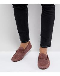 ASOS - Wide Fit Driving Shoes In Pink Suede With Emboss Strap Detail - Lyst