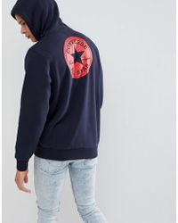 Converse - Pullover Hoodie With Chuck Patch In Navy 10006680-a03 - Lyst