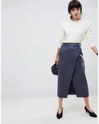 ASOS - Leather Look Wrap Midi Skirt With Buckle Belt - Lyst