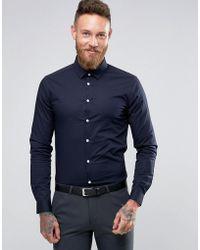 3e909b1522b Asos Stretch Slim Denim Shirt With Grandad Collar In Mid Wash in ...