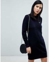 Fred Perry - Navy Knit Sweater Dress - Lyst