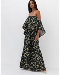 ab66fa00d7d ASOS - Jumpsuit With Structured Overlay In Floral Print - Lyst