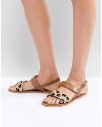 Warehouse - Leopard Print Contrast Strap Sandals - Lyst