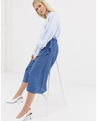 Y.A.S - Leaf Print Midi Skirt - Lyst