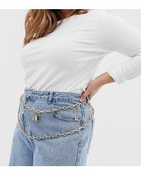 ASOS - Asos Design Curve Charm And Padlock Charm Chain Waist And Hip Belt - Lyst