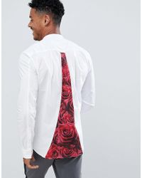SIKSILK - Long Sleeve Shirt In White With Rose Panel - Lyst