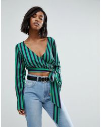 PRETTYLITTLETHING | Striped Wrap Blouse | Lyst