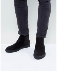 ASOS - Chelsea Boots In Black Faux Leather With Creeper Sole - Lyst