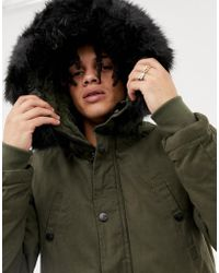 Sixth June Cotton Parka Jacket In Black With Extreme Faux