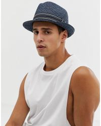 Ted Baker - Syrup Straw Trilby In Blue - Lyst