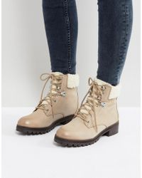 ALDO - Uleladda Leather Lace Up Hiker Boot In Taupe - Lyst