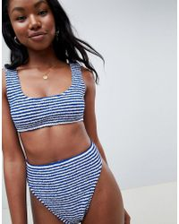 c735eab360 ASOS - Design Mix And Match Stripe Crinkle Crop Bikini Top - Lyst