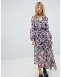 Religion - Button Up Maxi Dress In Grunge Leopard - Lyst