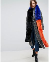 Urbancode - Extra Long Colourblock Faux Fur Scarf - Lyst