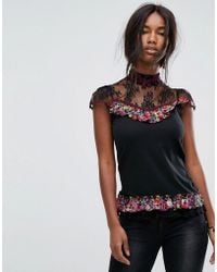 Anna Sui - Top With Lace Yoke In Cherry Print - Lyst
