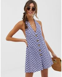 8377678982 ASOS - Halter Playsuit With Button Detail In Self Stripe In Gingham Print -  Lyst