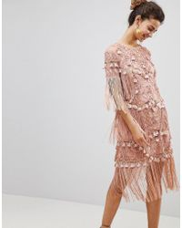 ba14578e599 ASOS - Loose T-shirt Dress With Embroidery And Tassels Mini Dress - Lyst