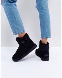 UGG - Mini Bailey Button Ii Black Boots - Lyst