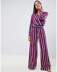 20e11fcf3697d9 ASOS - Asos Design Wrap Over Stripe Blouse And Wide Leg Pants Pajamas - Lyst