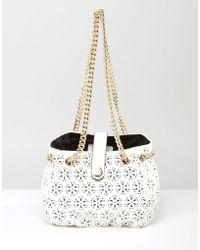 Little Mistress - Laser Cut Detail Bag With Chain - Lyst