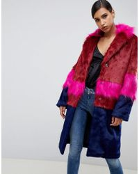 ASOS - Cutabout Blocked Fur Faux Coat - Lyst