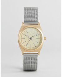 ASOS - Brushed Gold And Silver Mesh Watch - Lyst