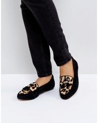 Office - Fedora Leopard Print Flat Suede Shoes - Lyst