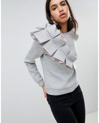 Lost Ink - Scuba Sweater With 3d Ruffle Detail - Lyst