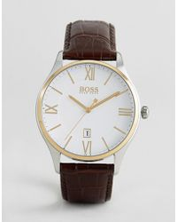 BOSS - 1513486 Governor Leather Watch In Brown - Lyst