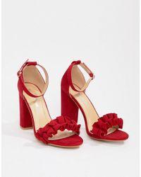 8204ca052dd PrettyLittleThing - Ruffle Block Heeled Sandals In Red - Lyst