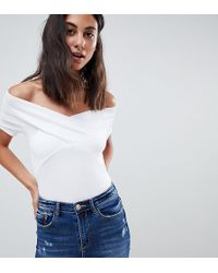 ASOS - Asos Design Tall Off Shoulder Fitted Top In White - Lyst