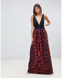 True Violet - Plunge Front Maxi Dress In Tiger Print - Lyst