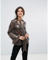 Closet - Wardrobe Sequin Tie Neck Long Sleeve Blouse - Lyst