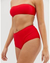 c8df27ed74ef4 Missguided - Mix And Match High Waisted Bikini Bottoms In Red - Lyst