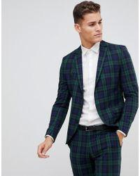 2406b63fab45a BOSS Nemir Plaid Blackwatch Regular Fit Tuxedo Jacket in Black for ...