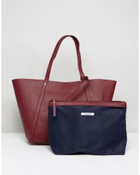 Pieces - Structured Shopper Bag With Removable Pouch - Lyst
