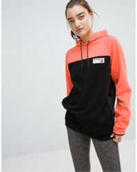 New Balance - Colourblock Pullover Hoodie In Coral - Lyst