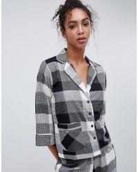 ASOS - Asos Mono Check Woven Traditional Pyjama Set - Lyst