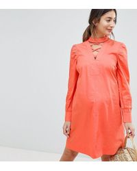 ASOS - Petite Tie Waist Mini Dress With Lattice Front - Lyst