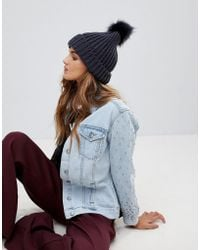 French Connection - Chunky Knit Beanie Hat With Large Pom - Lyst